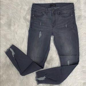 {Express} Mid Rise Skinny Legging Gray Jeans